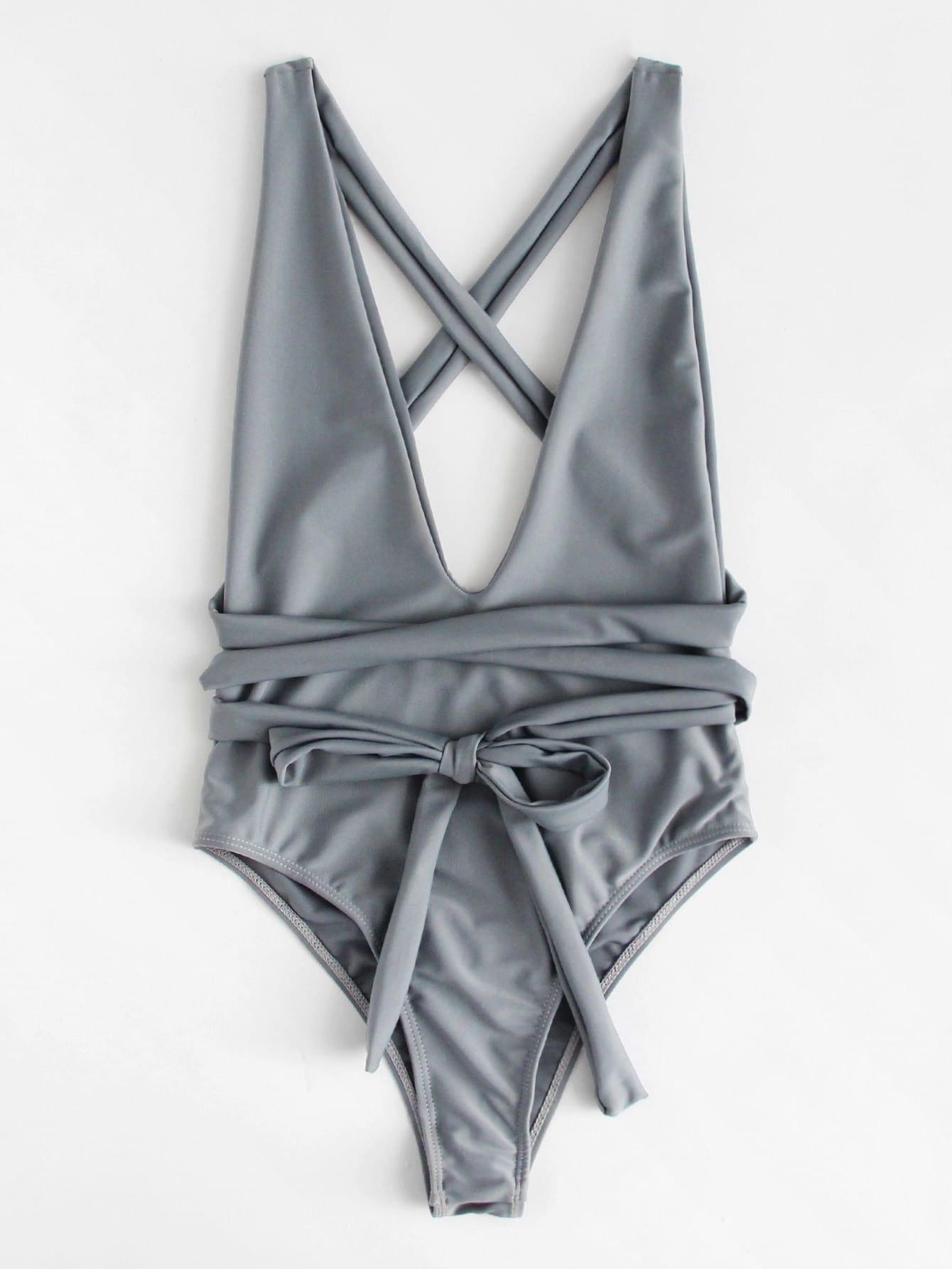 Criss Cross Self Tie Swimsuit