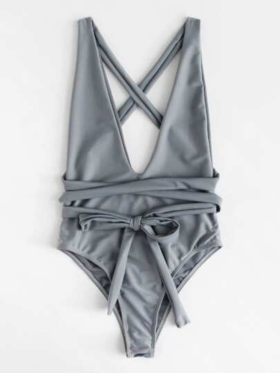 Criss Cross Self Tie Swimsuit