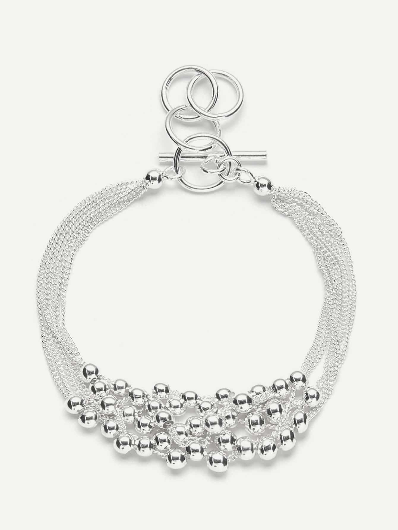 Metal Beaded Design Layered Chain Bracelet wing design chain bracelet