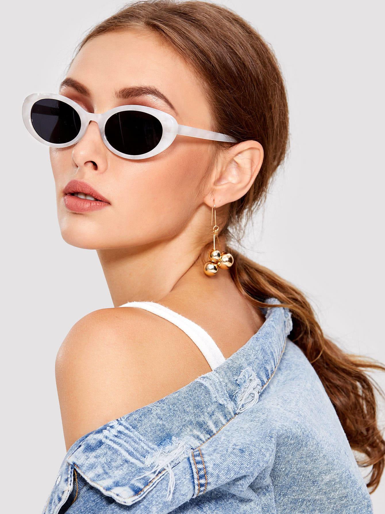 Two Tone Cat Eye Sunglasses two tone drop shoulder sweatshirt