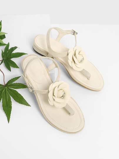 Flower Applique Toe Post Sandals