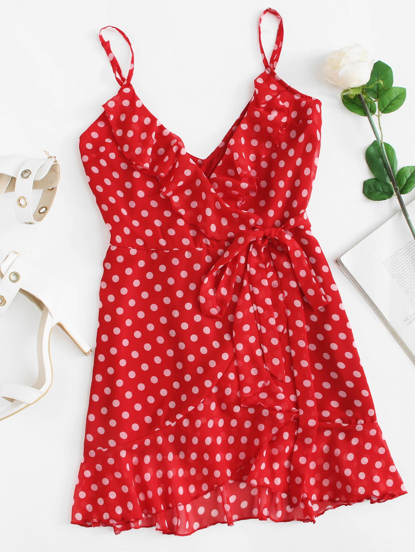 Ruffle Trim Polka Dot Cami Dress layered ruffle polka dot cami dress