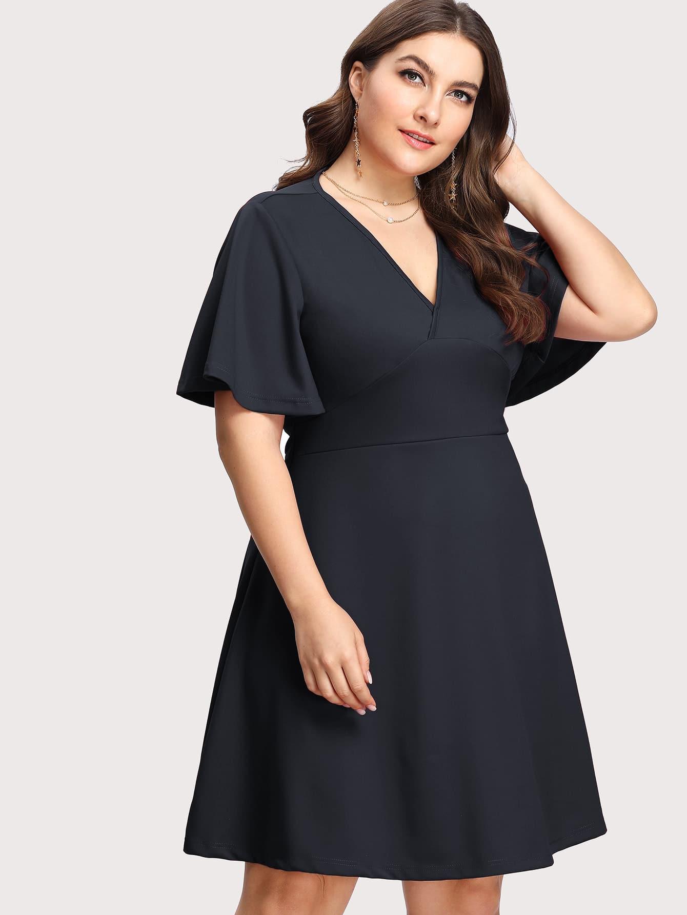 Flutter Sleeve Overlap Front Fit & Flare Dress overlap front m slit velvet dress