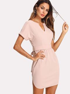 V Cut Front Roll Up Sleeve Belted Dress