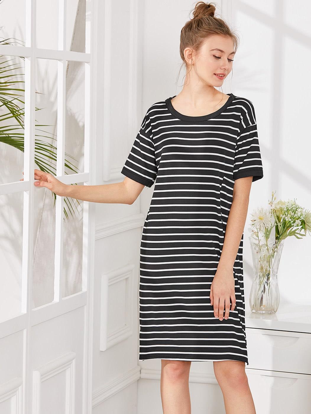 Split Side Striped Dress night180314306