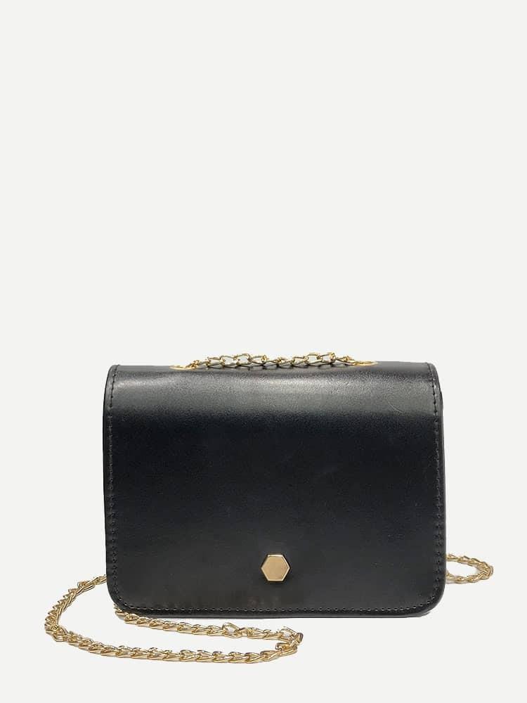 Solid PU Chain Shoulder Bag