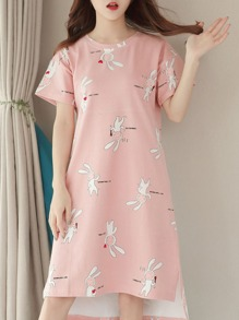 Rabbit Print Split Side Dress
