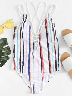 Striped Strappy Open Back One Piece Swimsuit