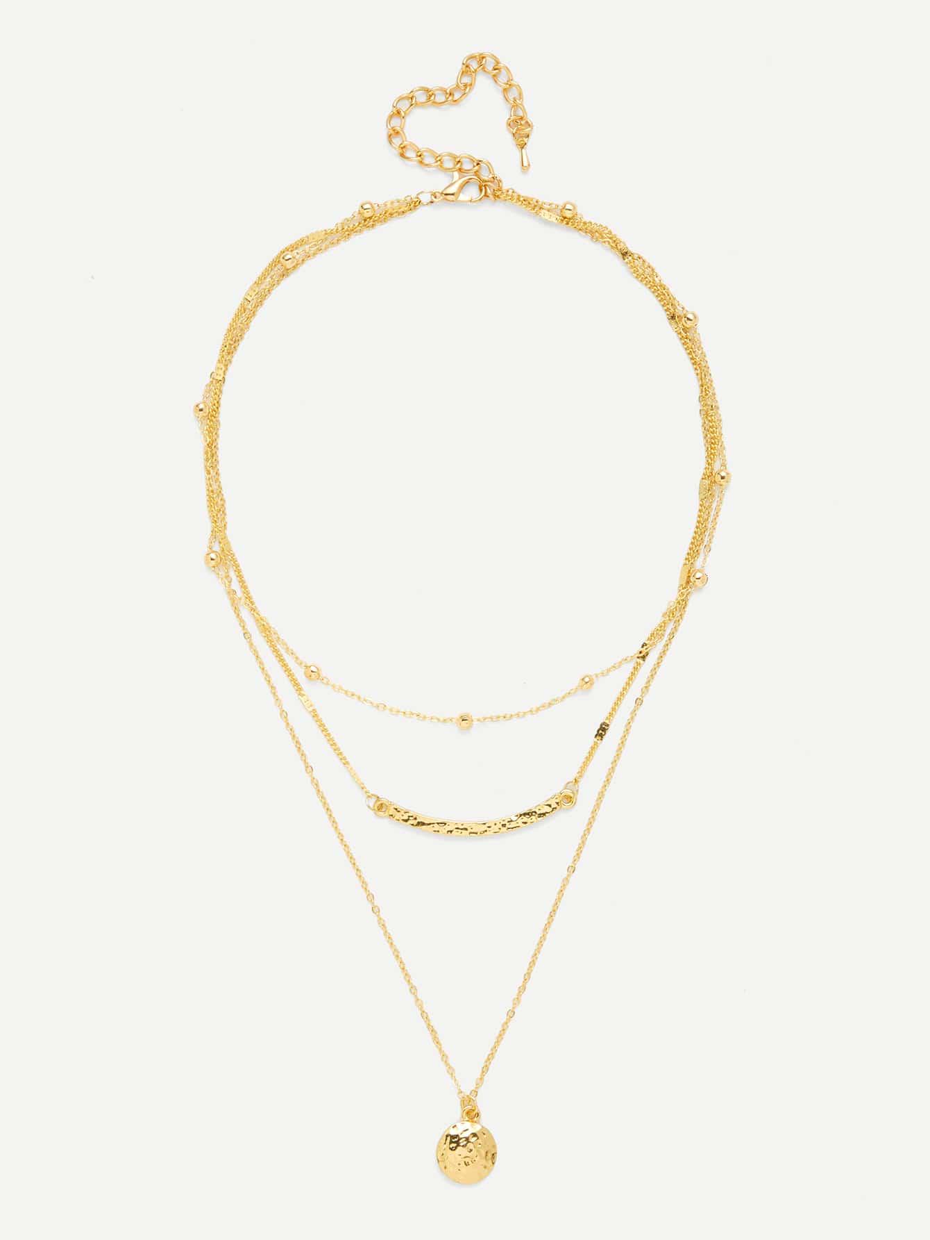 Bar & Round Pendant Three Layered Necklace harumika 30509