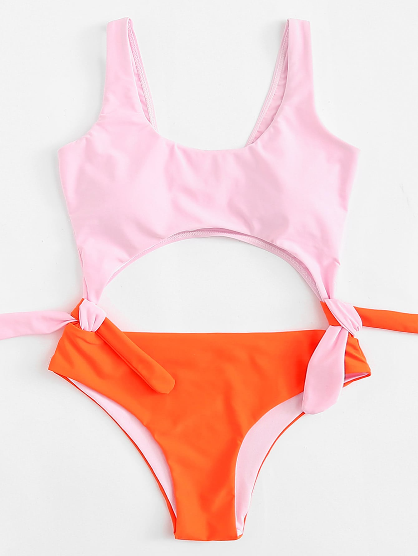 Two Tone Knot Swimsuit drop crotch loose two tone pants