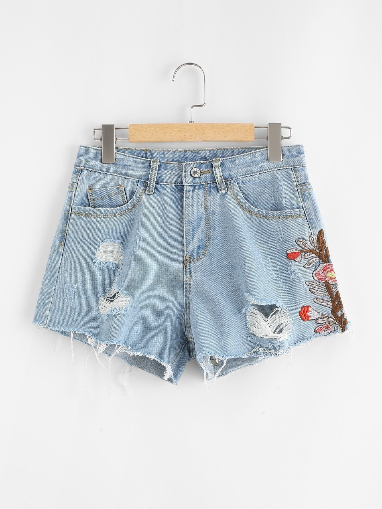 Flower Embroidered Raw Hem Ripped Denim Shorts raw hem stripe side ripped denim shorts