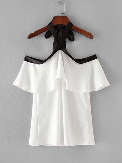 Contrast Trim Ruffle Top