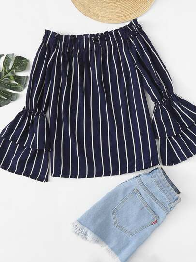 Off Shoulder Fluted Sleeve Striped Top