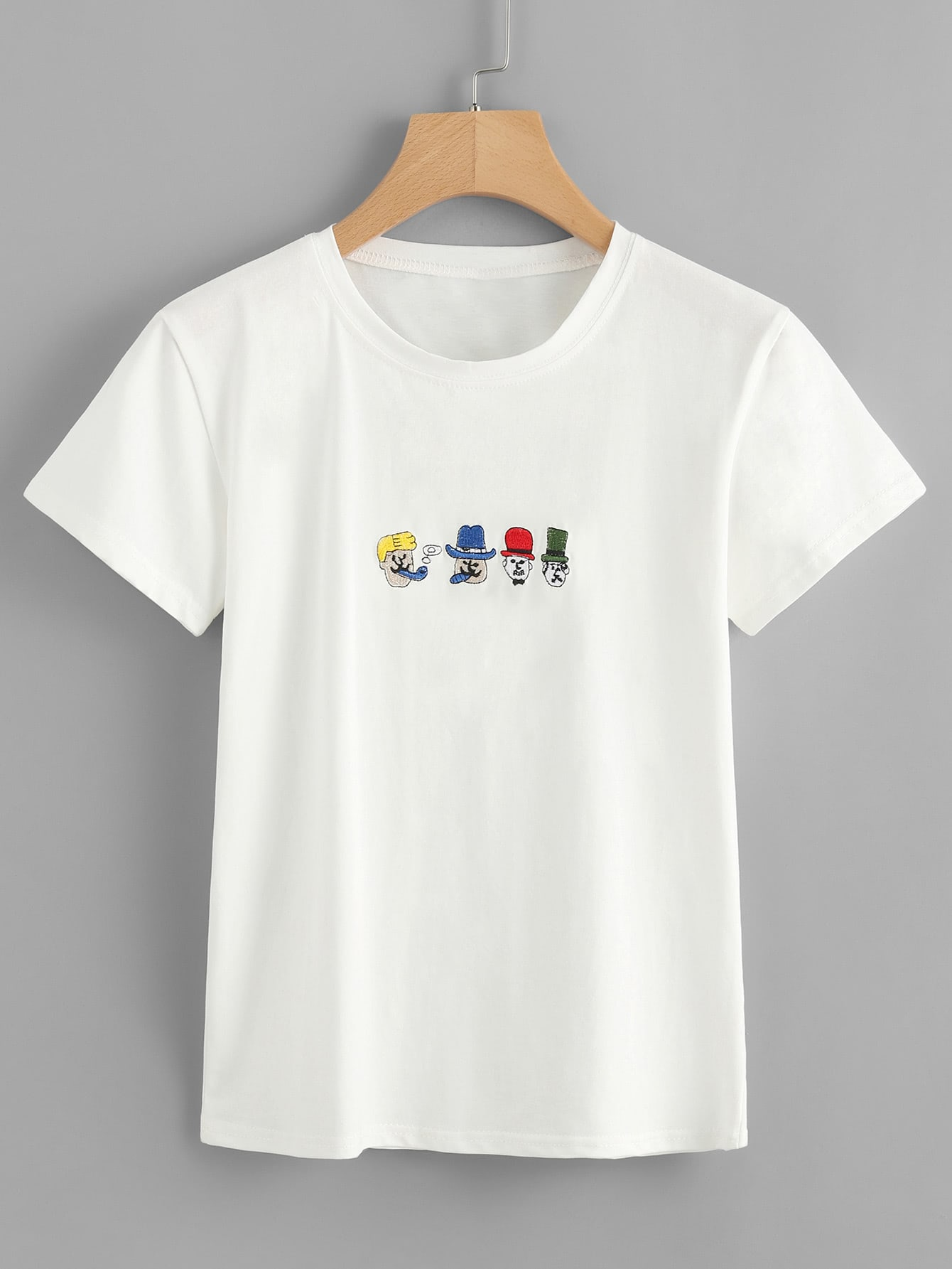 T-Shirt mit Abbildungstickereien