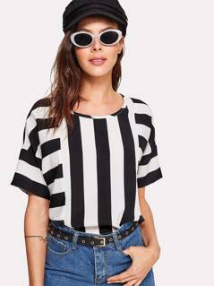 Mixed Stripe Print Top
