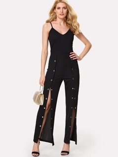 Snap Button Front Cami Jumpsuit