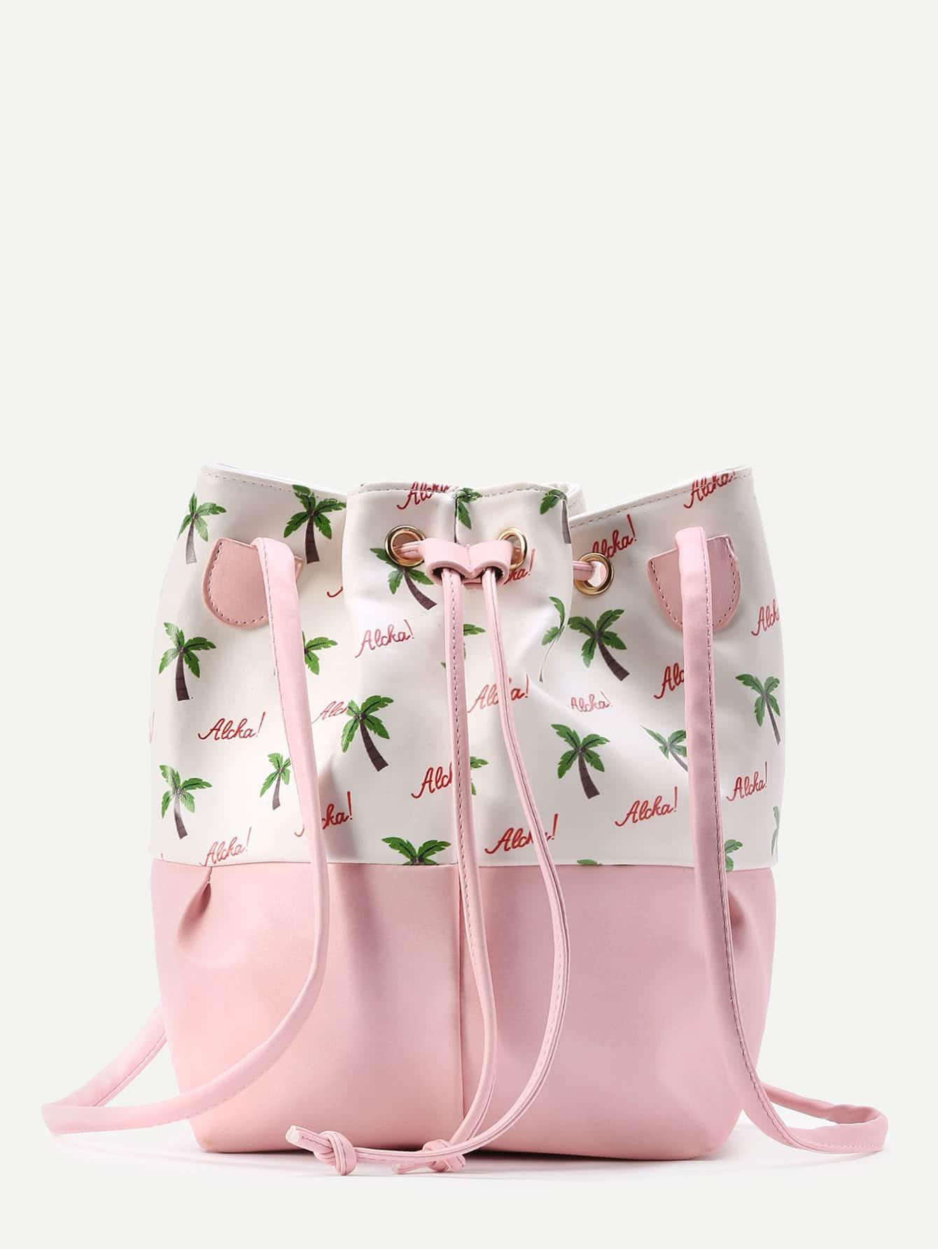 Coconut Tree Print Bucket Bag