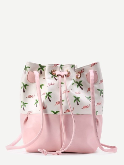 Coconut Tree Print Bucket Bag