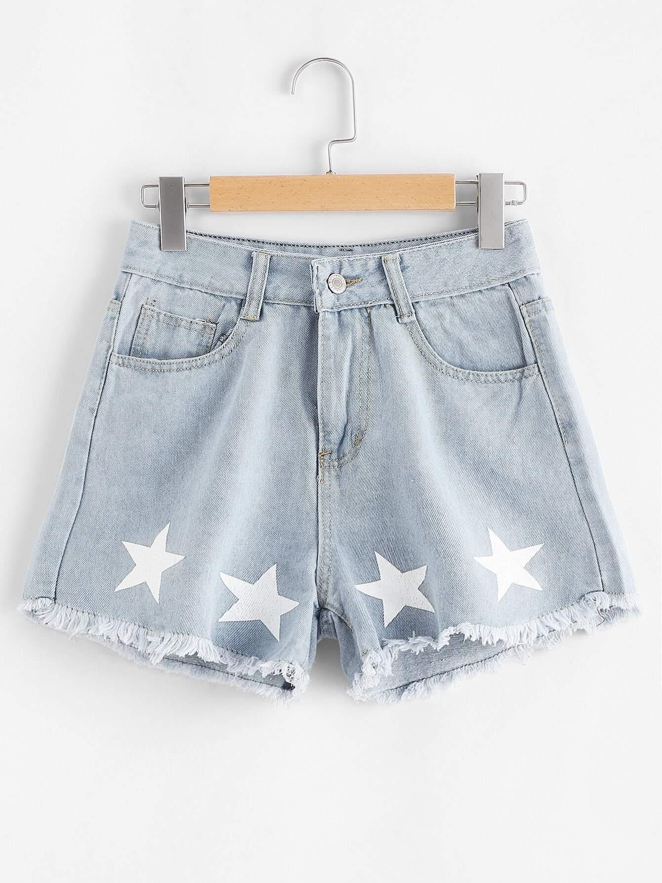 Star Print Raw Hem Denim Shorts джинсы мужские g star raw 604046 gs g star arc