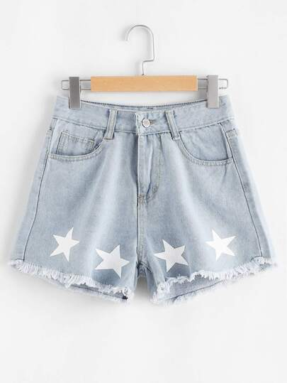 Star Print Raw Hem Denim Shorts