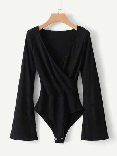 Surplice Neckline Ribbed Bodysuit