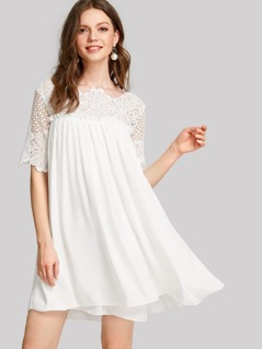 Lace Shoulder Frill Detail Smock Dress