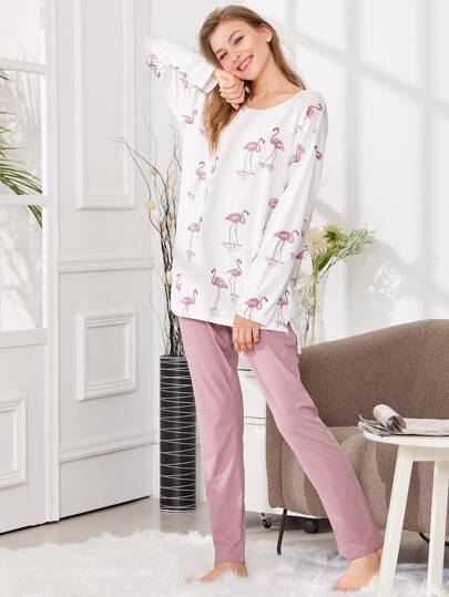 Flamingo Print Tee & Pants PJ Set