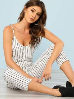 Pin Stripe Button Up Jumpsuit with Dual Pockets IVORY