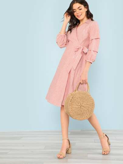 Striped Ruched Sleeve Wrap Dress CORAL