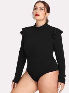 Plus Ruffle Embellished Shoulder Solid Bodysuit