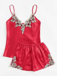 Embroidered Flower Satin Cami & Shorts