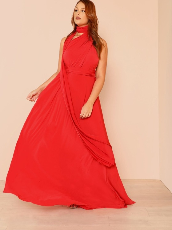 9fc9255b29 Plus Cross Strap Wrap Around Maxi Dress RED | MakeMeChic.COM