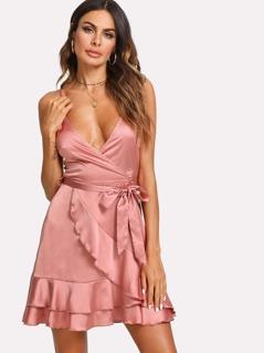 Layered Ruffle Trim Satin Wrap Dress