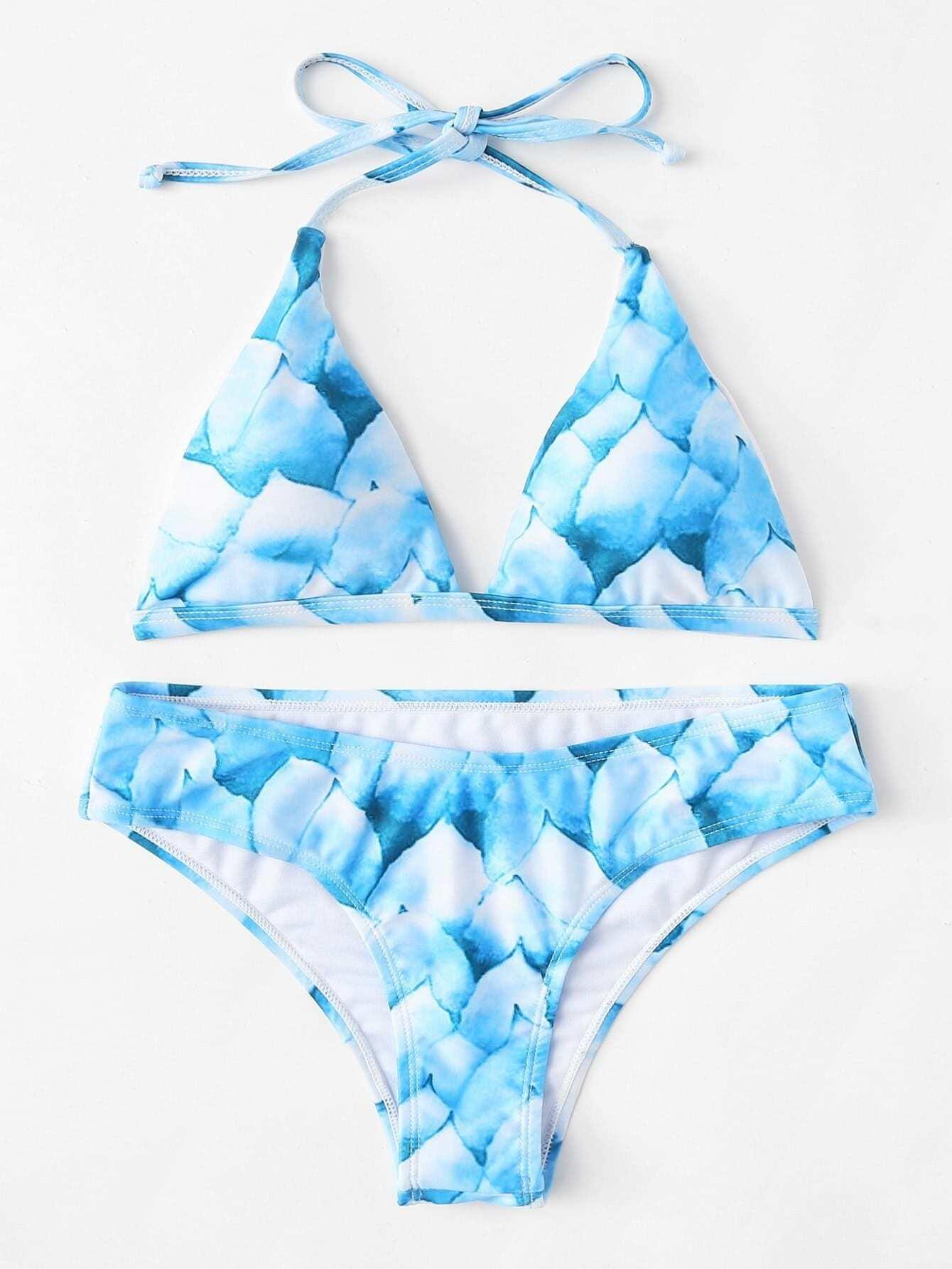 Knot Back Halter Bikini Set knot back solid bikini set