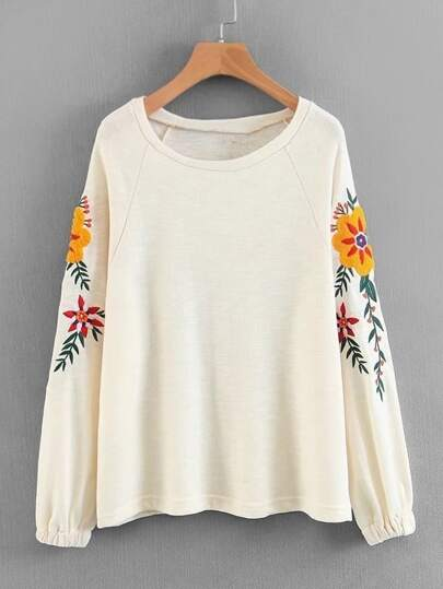 Raglan Sleeve Embroidery Knit Pullover