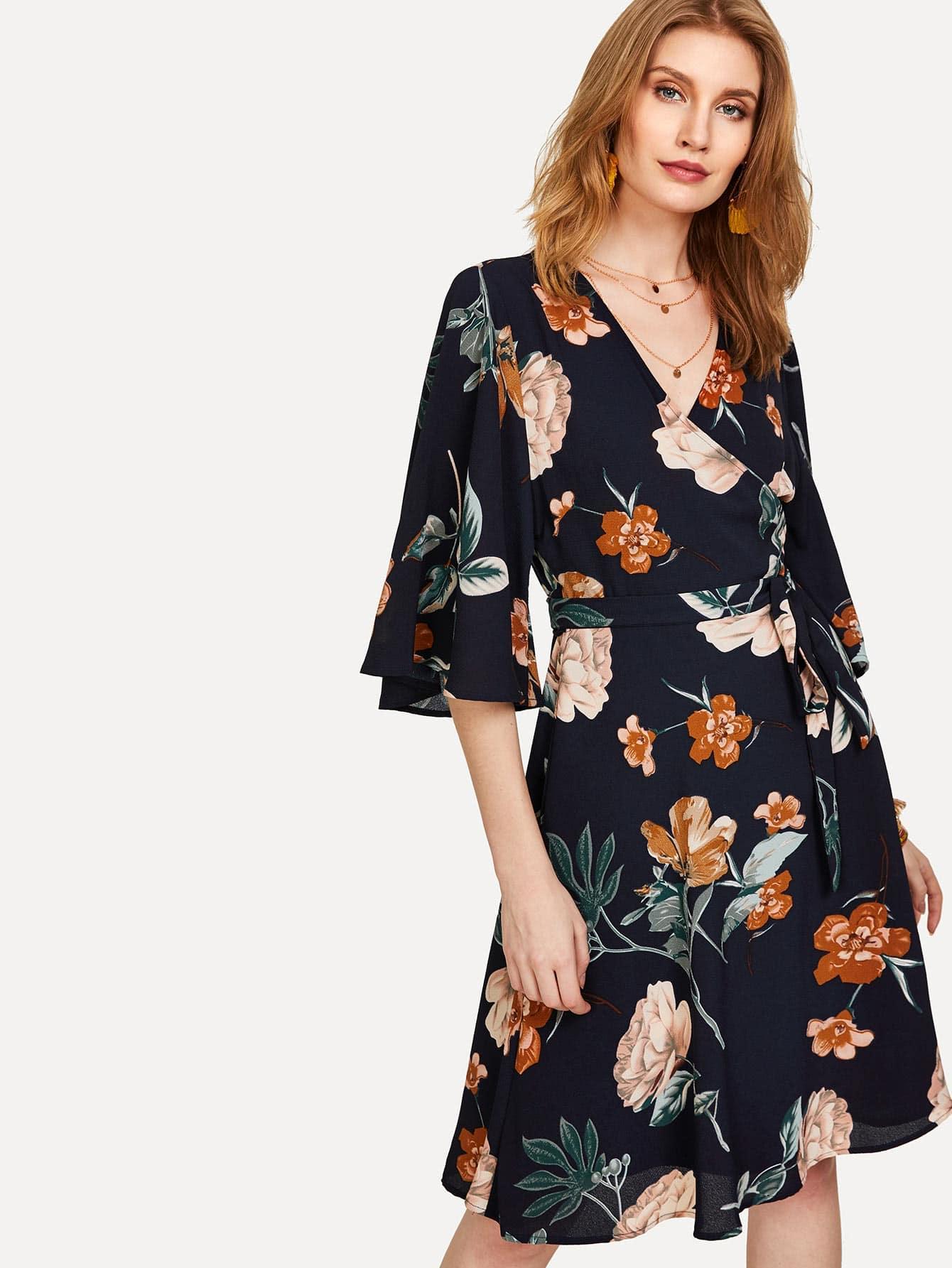 Купить Модное платье с запахом и цветочным принтом, Yanab, SheIn
