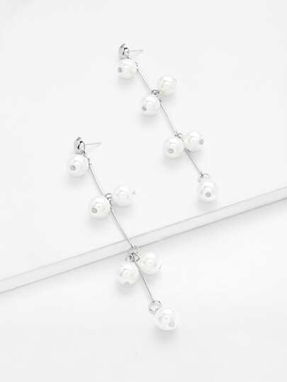 Faux Pearl Decorated Dangle Earrings