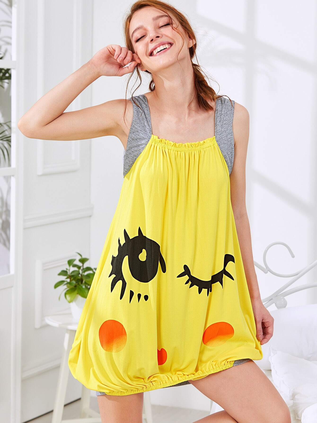 Wink Eyes Print Nightdress creative a60 black