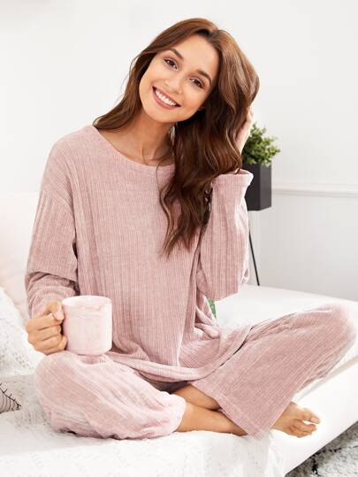 Drop Shoulder Solid Top & Pants PJ Set