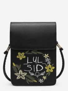 Calico Embroidered Crossbody Pouch