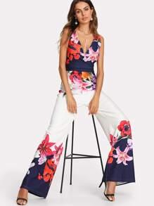 Flower Print Zip Back Sleeveless Jumpsuit