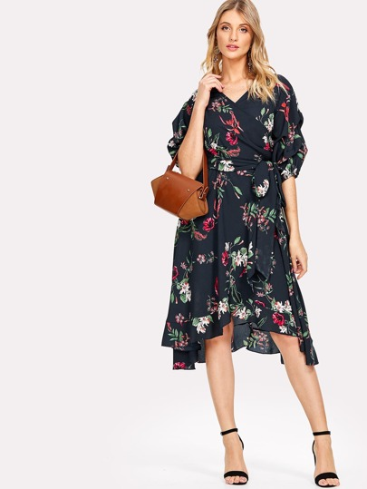 Gathered Sleeve Surplice Wrap Botanical Dress