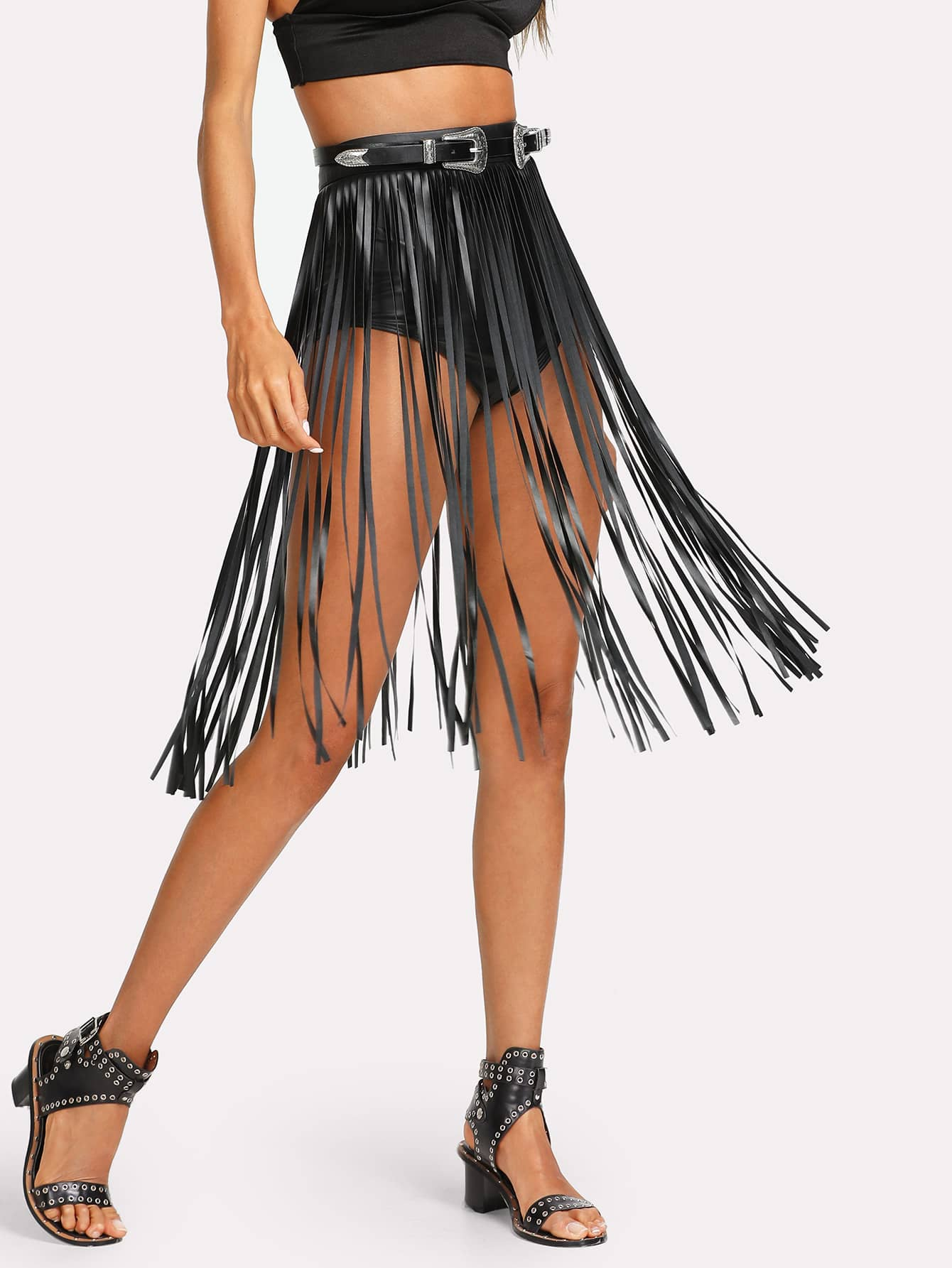 Faux Leather Fringe Skirt faux leather pleated skirt in black