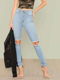 Distressed High Waist Skinny Leg Jeans LIGHT BLUE