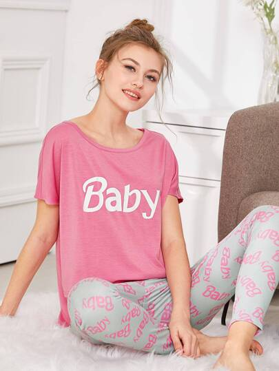 Letter Print Stepped Hem Tee & Shorts PJ Set