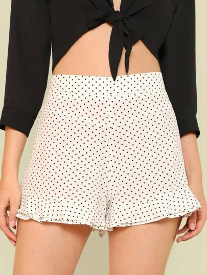 Polka Dot Frill Hem Shorts WHITE