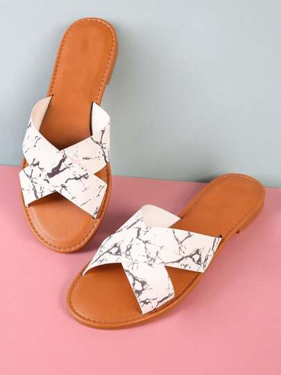 Criss Cross Double Band Slide Sandal MARBLE