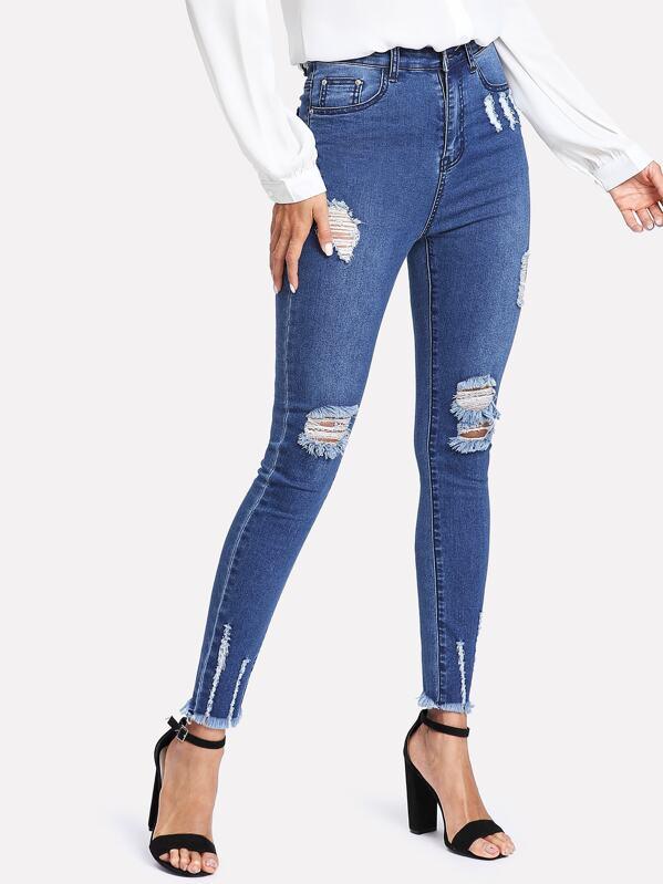Raw Hem Ripped Denim Jeans, Andy