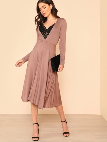 Plunge Neck Fit & Flare Dress