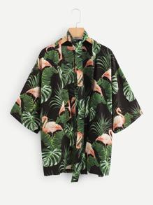 Flamingos Print Tie Neck Open Front Kimono